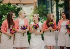 Wedding flowers***Coral  purple**missy with bridesmaids.