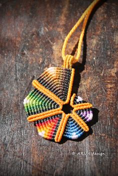 Small ORANGE RAINBOW SPIRAL fiber pendant cavandoli by ARUMIdesign