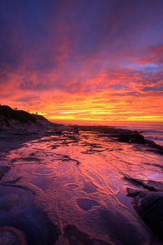 ~~Fire and Water ~ tidal pools lit by epic sunset, La Jolla, California by tmcclenahan~~
