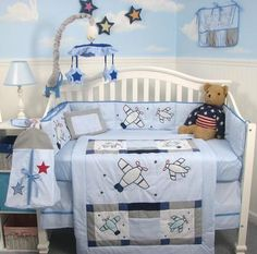 Pottery Barn Kids Brady/'s AIRPLANE Fitted CRIB SHEET blue Sky Plane Boy