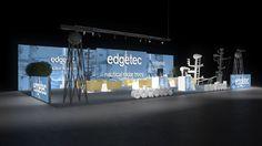 375 Radarantennen edgetec | Imposanter Messestand für einen Hersteller von nautischen Radarantennen.   Der große Kopfstand präsentiert Antennen Motive auf rahmenlos bedruckten...