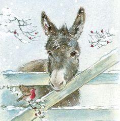 Bird and donkey illustration Christmas Donkey, Christmas Animals, Christmas Art, Illustration Noel, Christmas Illustration, Vintage Christmas Cards, Christmas Pictures, Vintage Cards, Animal Paintings