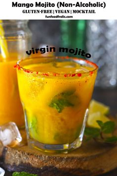 Virgin Mango Mojito is a refreshing non-alcoholic, dairy-free summer drink made from the ripe mango juice. It's a perfect party mocktail recipe that comes together in 5 minutes via funfoodfrolic.com #glutenfreerecipes #veganrecipes #vegetarianrecipes #mangorecipes #drinkrecipes