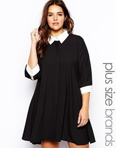 Alice & You 3/4 Sleeve Swing Dress with Contrast Collar