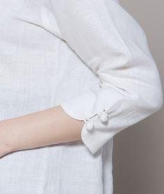 Plait Buttons V Collar Linen Shirt