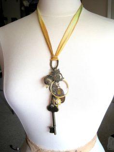 Steampunk industrial chic charm necklace on hand-dyed silk ribbon by JMarieOfAtlanta, $50.00