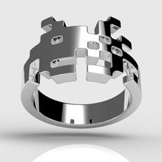 space-invaders-ring 40 Unique & Unusual Wedding Rings for Him & Her Space Invaders, Unusual Wedding Rings, Unusual Rings, Quirky Wedding, Wedding Vintage, Vintage Engagement Rings, Vintage Rings, Vintage Silver, Ring Engagement