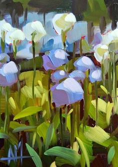 """Daily Paintworks - """"Alliums in the Flower Garden Painting"""" - Original Fine Art for Sale - © Angela Moulton"""