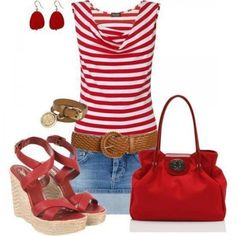 diagonal red and white striped top with jean capris.  brown woven belt at hips?  red necklace? and red sandals.