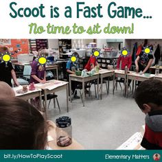 Demonstrate fluency with addition and related subtraction facts through ( Active Students? Try Scoot! The game, Scoot, can be played a number of ways for a variety of reasons. Here are the basics of the game, and a few suggestions! Class Games, School Games, School Fun, School Ideas, Math Games, School Projects, Learning Games, School Stuff, Teaching Strategies