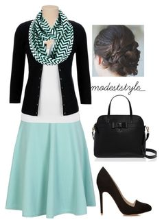 """Mint and black"" by modeststyle-studio ❤ liked on Polyvore featuring Forever 21 and Kate Spade"
