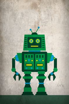 Robot 005 Poster 16x24 by JasonChristman on Etsy, $45.00