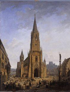 """Das Freiburger Münster von Nordwesten"""" ist der Titel dieses 1821 entstandenen Bildes von Domenico Quaglio,"""