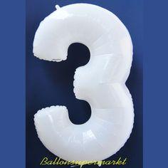 Zahlen-Luftballon aus Folie, 3, Drei, Weiß, 100 cm groß - Luftballons aus Folie große Zahlen, 100 cm, Weiß - Folienballons (ungefüllt) - Folienballons