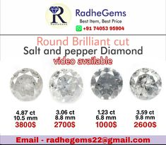 Saltandpepper diamond available in all size , you can purchase from our etsyshop. Diamond Color Scale, Natural Salt, Salt And Pepper Diamond, Colored Diamonds, Etsy Seller, Etsy Shop