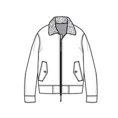 Sherpa Collar Flat Sketch For Zip up Blouson Jacket Fashion Flat Template
