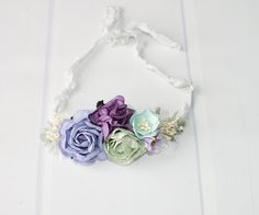 Wrapped in Lavender and Grace - beautiful dainty flower tieback  in light sage, lavender, lilac, plum purple, aqua and cream (RTS) by SoTweetDesigns on Etsy