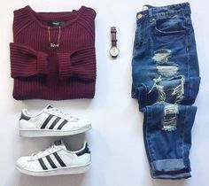 Burgundy .. Jeans .. Adidas originals superstar .. Cool outfits