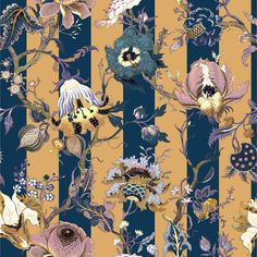 The contrast of tawny Ochre and Aegean Blue are striking and this stripe gives a statement behind the wildly floral design of ARTEMIS. This HOUSE OF HACKNEY X WILLIAM MORRIS wallpaper is stunning!