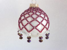 Red and White Lead Crystal Hand Beaded by BeadsandThreadsbyAmy, $23.00