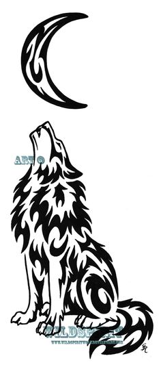 Here is 's completed tattoo design one of three. Each design will feature a wolf with a different emotion and this one is the mournful/lonely wolf. Lonely Wolf And Moon Tattoo Tribal Moon Tattoo, Tribal Animal Tattoos, Tribal Animals, Wolf Tattoo Design, Moon Tattoo Designs, Wolf Design, Wolf Und Mond Tattoo, Tattoo Mond, Lobo Tribal