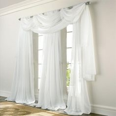 "Elegance White Sheer Voile Curtain  60""W x 45""L Panel  60""W x 63""L Panel  60""W x 84""L Panel  40""W x 216""L Scarf  60""W x 14""L Straight Valance"