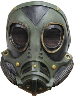 Latex mask with futuristic gas prohibitive design and tube detailing. Knit cloth eye holes conceals wearers face.