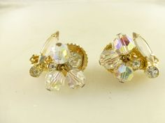 Vintage D&E Juliana Crystal Rhinestone Cha Cha Dangle Drip Clip Earrings #DeLizzaElsterDEJuliana
