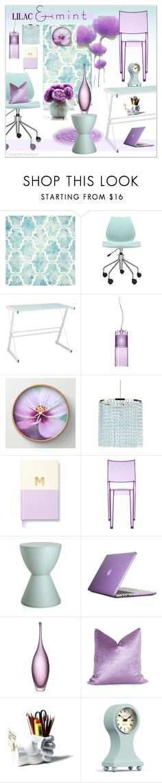 """Lilac & Mint Home Office"" by theseapearl ❤ liked on Polyvore featuring interior, interiors, interior design, home, home decor, interior decorating, Safavieh, Kartell, Walker Edison and Kate Spade"