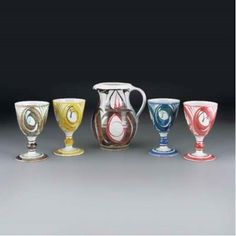 Aldermaston Pottery Four Alan Caiger Smith Goblets Decoration, Art Decor, Craig Smith, Earthenware Clay, Wine Goblets, Pottery, Tumblers, Mud, Tableware