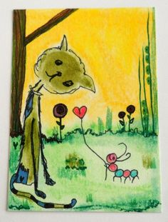 ACEO ORIGINAL CATS IN THE GARDEN #3 L. Brucato Cat & Worm ink in Art   eBay