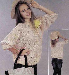 Вязание крючком и спицами - Ажурный пуловер фантазийным узором
