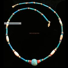 Ancient Egyptian Mummy Bead Blue Faience Agate Necklace 1000 Bc Jewellery E30 Egyptian photo