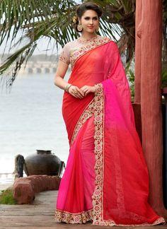 Elegant Rani Pink and Coral Red Saree