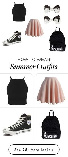 """""""cute tumblr outfit"""" by abbygurl9090 on Polyvore featuring Chicwish, Converse, Moschino, women's clothing, women, female, woman, misses and juniors"""