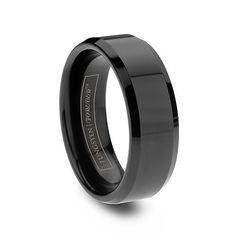 Mens Black Tungsten Carbide Beveled Rings