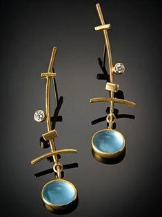 Earrings   Sydney Lynch. 'Crossed Sticks' Gold, diamond, aquamarine