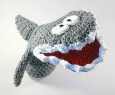 Hand Crocheted Kids Gift - Shark Toy - Hand Puppet - Pretend Play by CreativePlayCrochet $20.99
