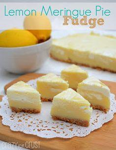 This Lemon Meringue Pie Fudge is like lemon meringue pie in fudge form! It's fudge with a crust! Easy, fast, no cook - this is the perfect lemon fudge recipe. Lemon Desserts, Lemon Recipes, Fudge Recipes, Candy Recipes, Sweet Recipes, Dessert Recipes, Dessert Ideas, Cookie Recipes, Lemon Meringue Pie