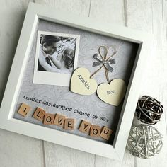 Another day, another excuse to say I LOVE YOU This handmade personalised scrabble art frame would make the perfect gift for your loved one. A beautiful keepsake to celebrate valentines, anniversarys, birthdays or just because! Made using scrabble letters and painted wooden hearts that