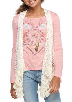 Beautees Sugar Coral Heart Top and Crochet Vest with Necklace Girls 7-16