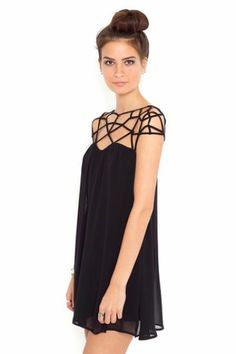 Black Girld Cut Out Shift Chiffon Mini Dress
