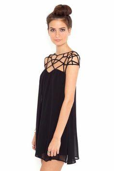 Black Girld Cut Out Shift Chiffon Mini Dress - Sheinside.com