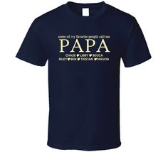 Papa Established Grandfather Since T Shirt Gift with names ...