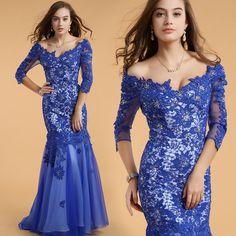 2016 New Fashion Blue Mermaid Dress V neck Bead Selena Gomez Sexy Wedding Party Formal Beyonce Dress Celebrity Dresses 61302