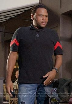 06ef2a548 Andre's black polo shirt with red striped sleeves on Black-ish. Outfit  Details: