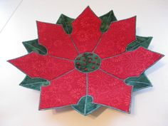 Poinsettia Fabric Bowl by BarbarasArtQuilts on Etsy
