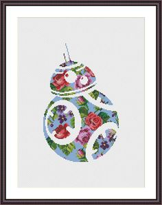 Star Wars Cross Stitch PDF pattern Floral BB 8 Silhouette