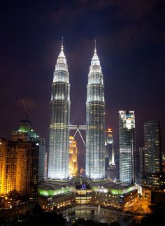 Walk across the skybridge at Petronas Twin Towers, Kuala Lumpur, Malaysia