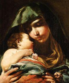 Giuseppe Maria Crespi, Lo Spagnolo, (Bologna, 1665-1747): Madonna col Bambino.